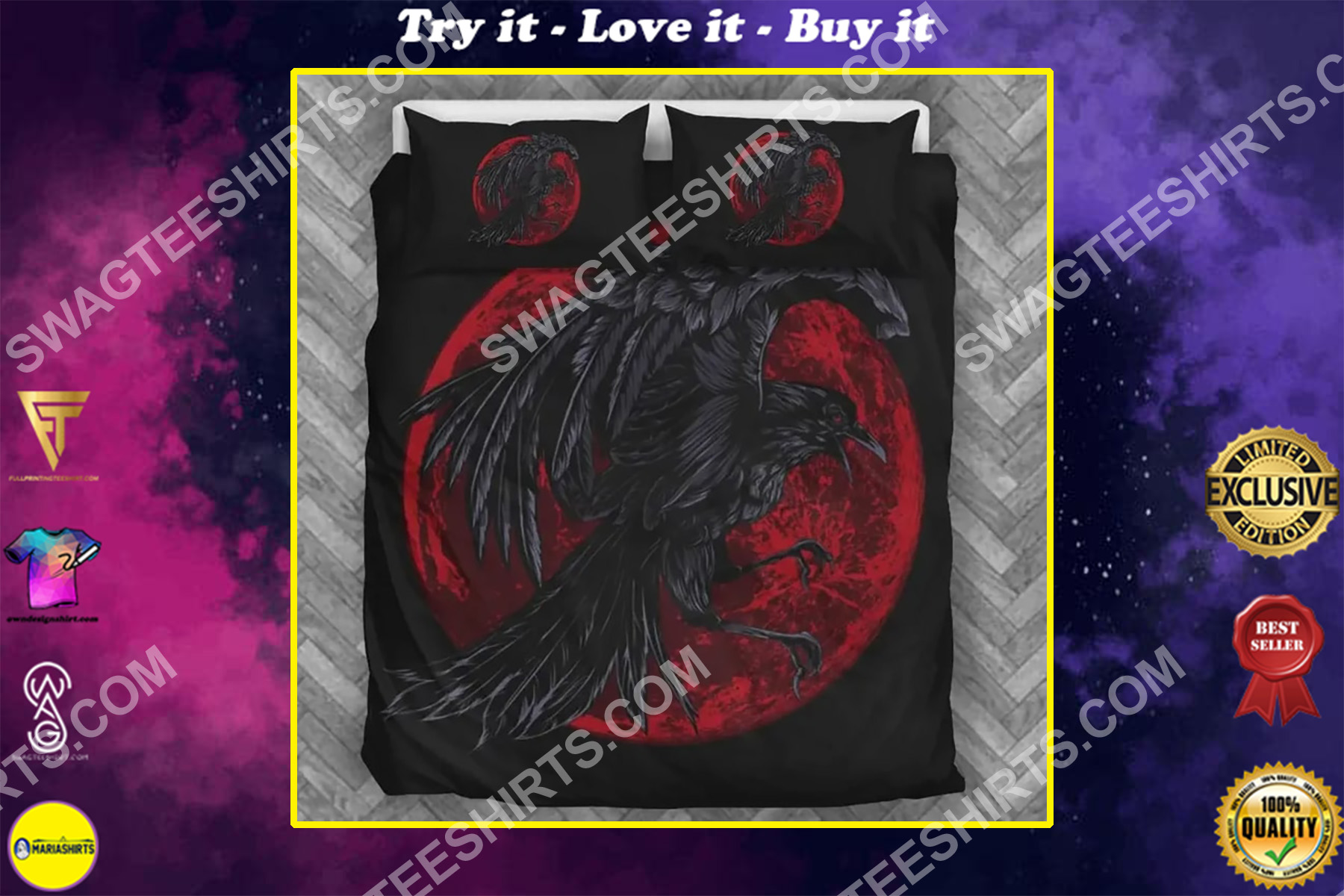 viking raven and red moon all over printed bedding set