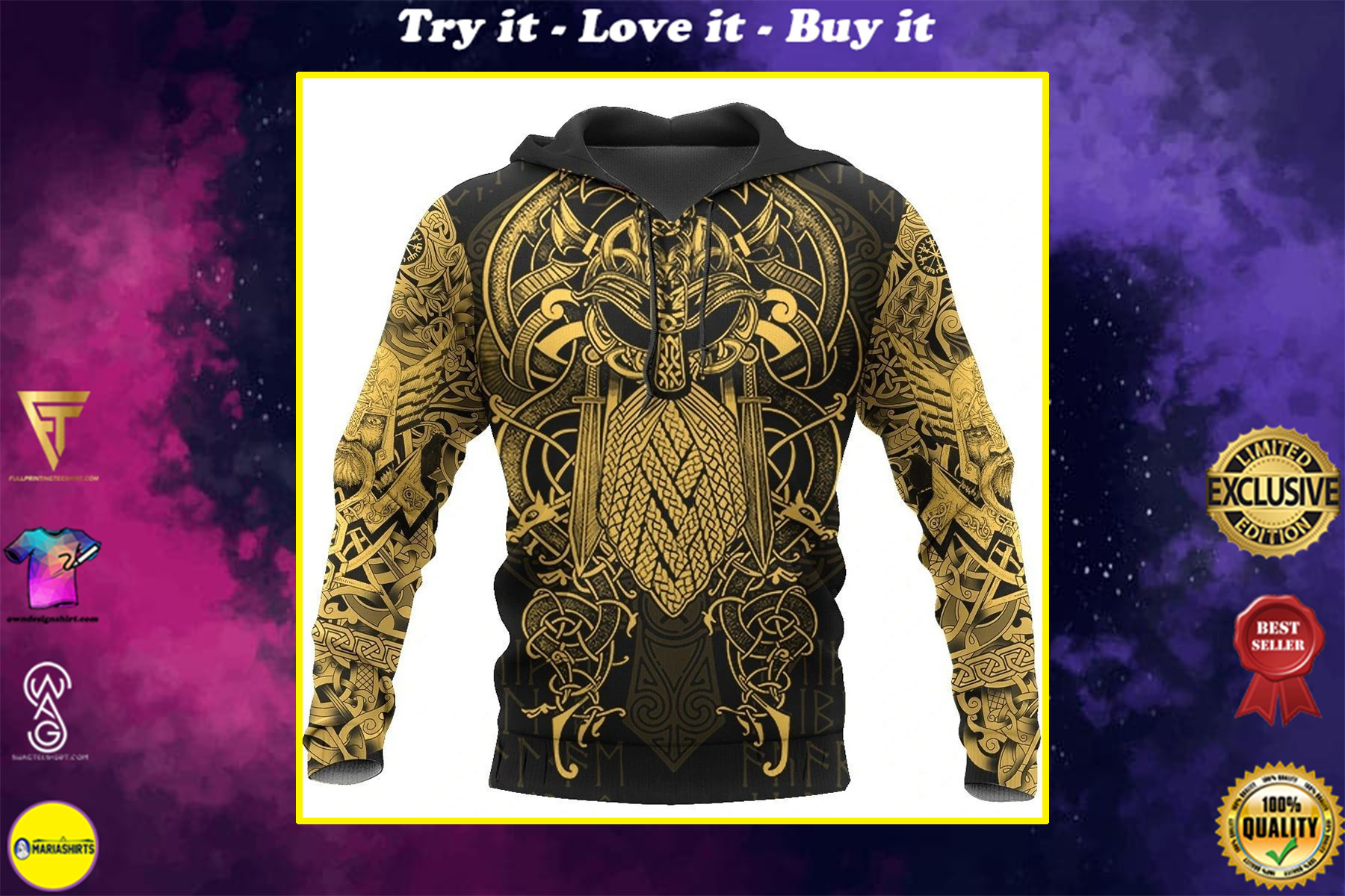 viking the raven yellow of odin tattoo all over printed shirt
