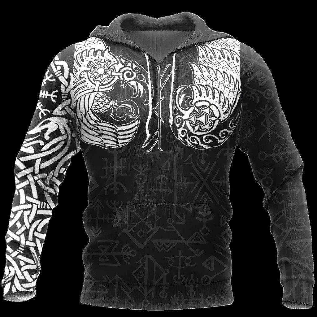 viking thor hammer and raven all over printed hoodie 1