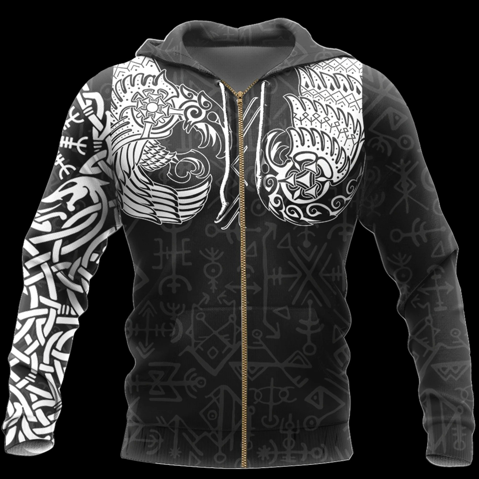 viking thor hammer and raven all over printed zip hoodie