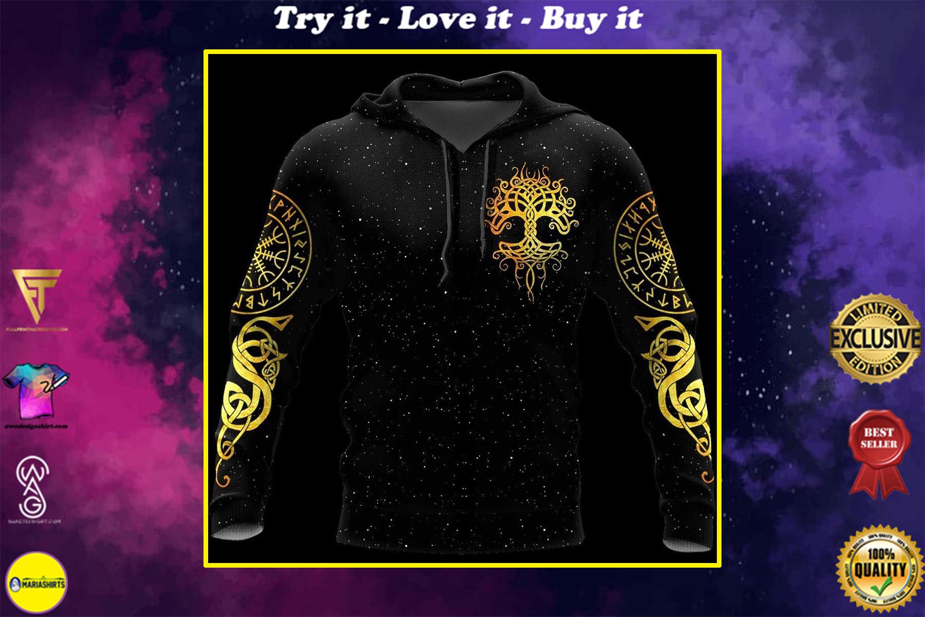 viking tree of life all over printed shirt