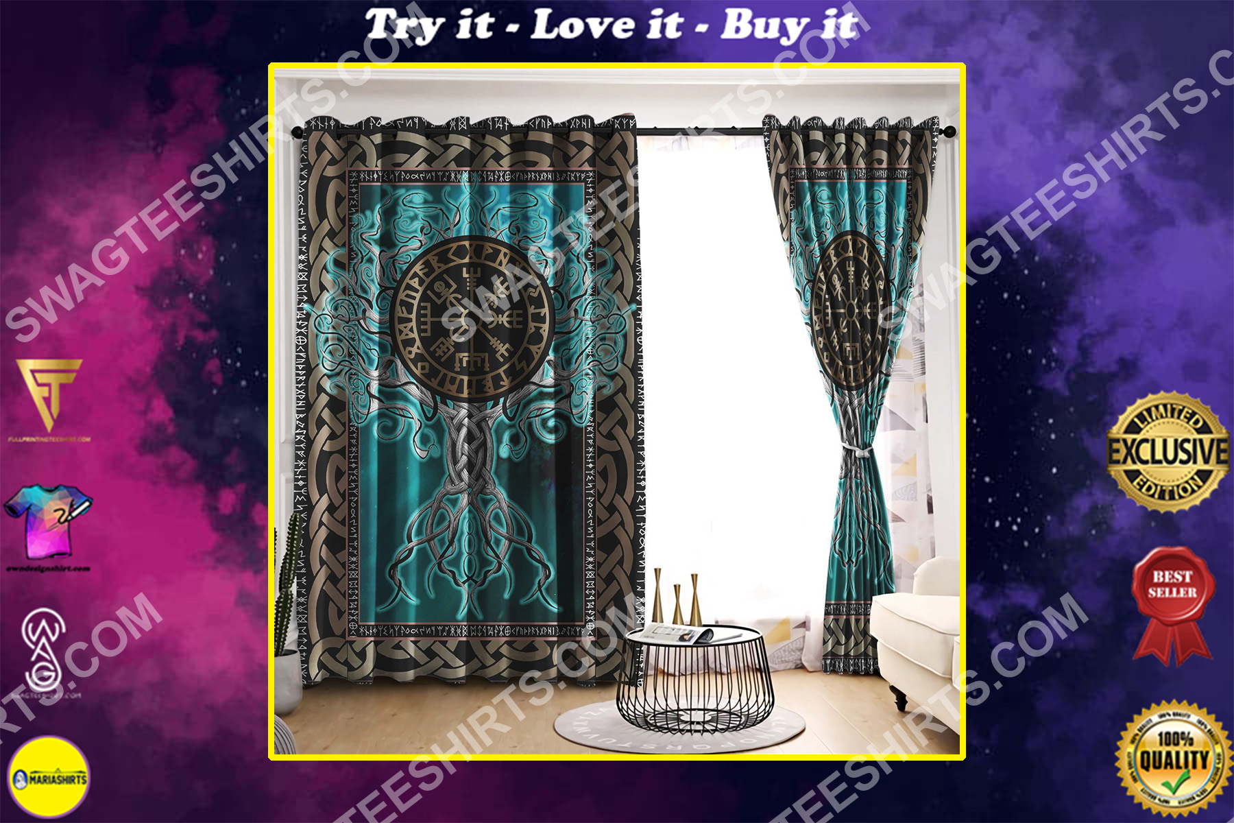 viking tree of life all over printed window curtains