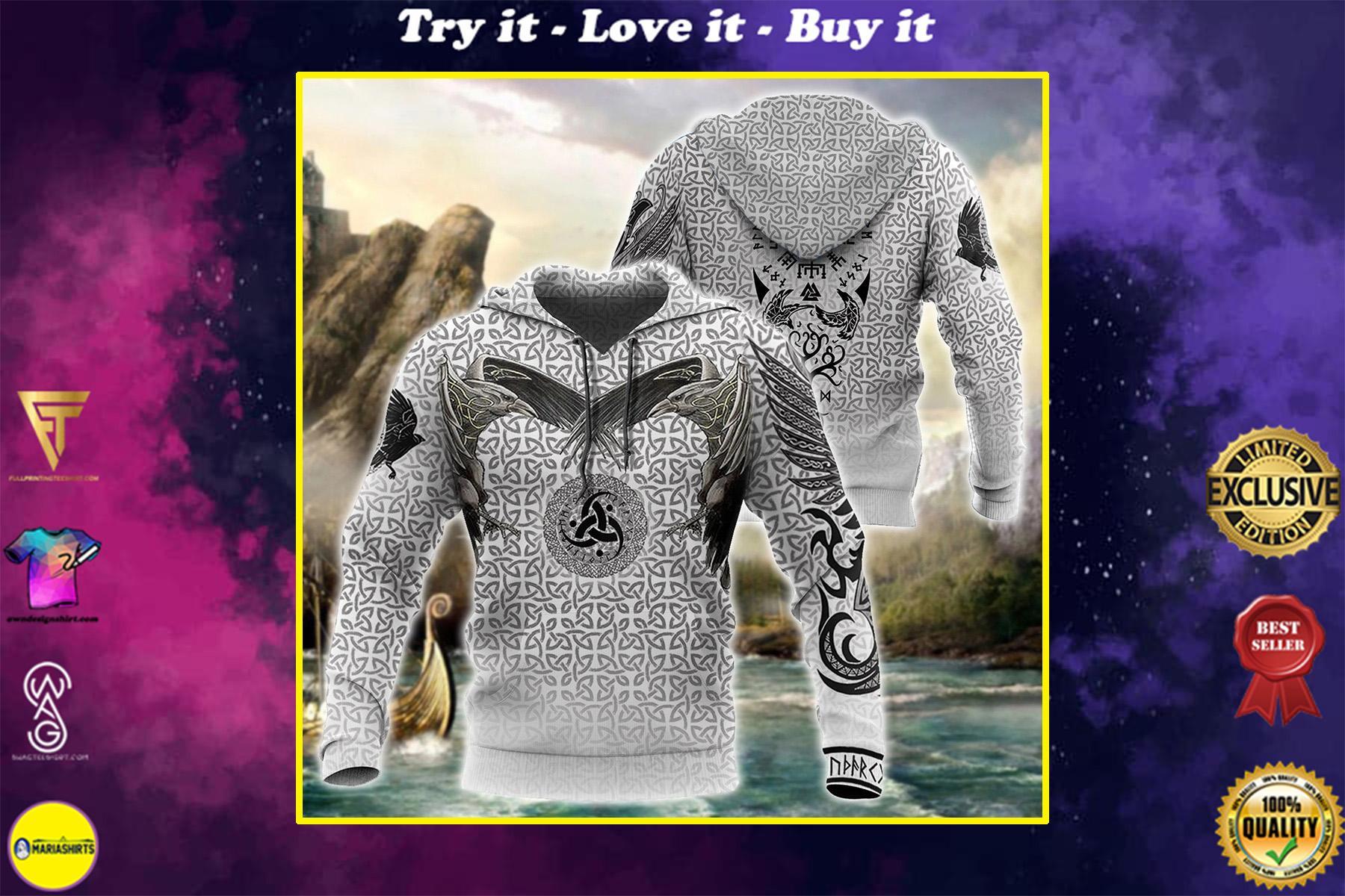 viking vegvisir circle all over printed shirt