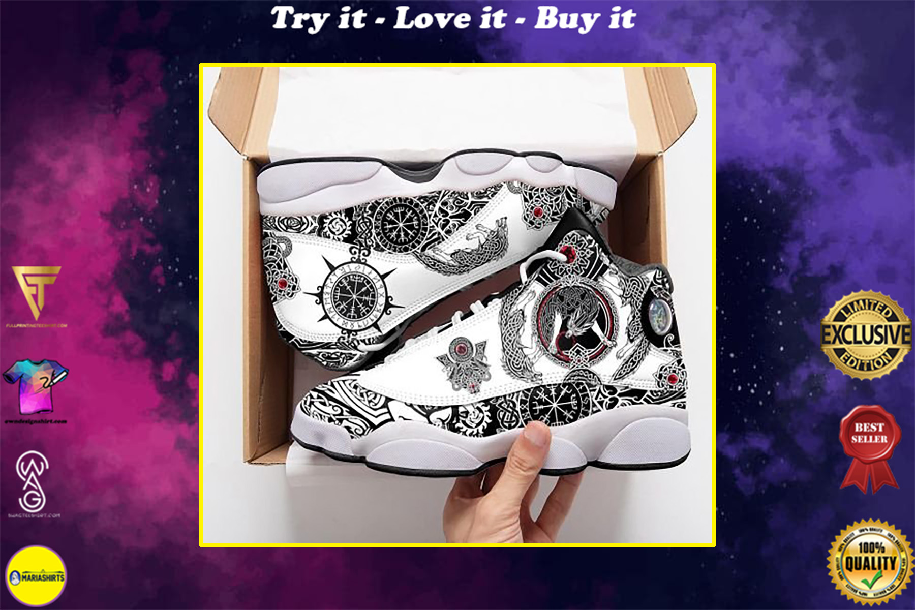 viking wolf all over print air jordan 13 sneakers