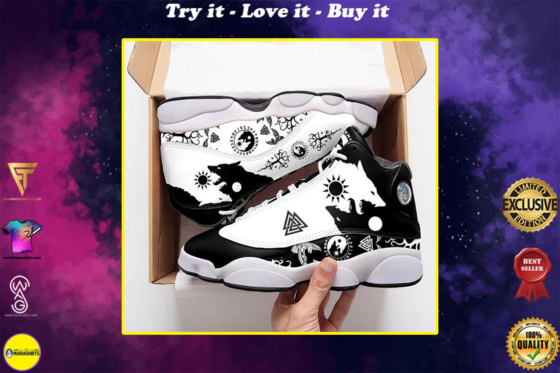 viking wolf skoll and hati all over print air jordan 13 sneakers