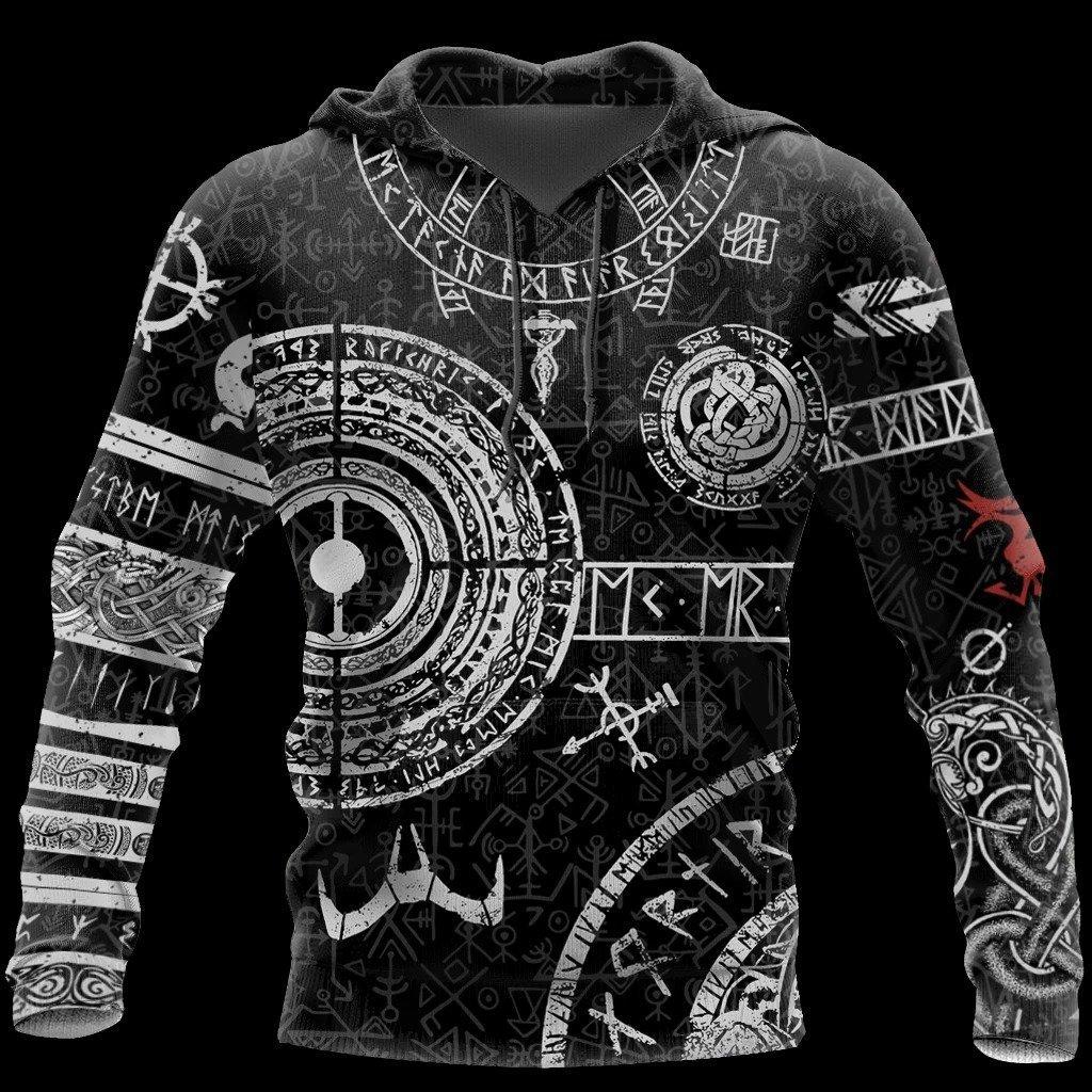 vikings tattoo symbols all over print hoodie