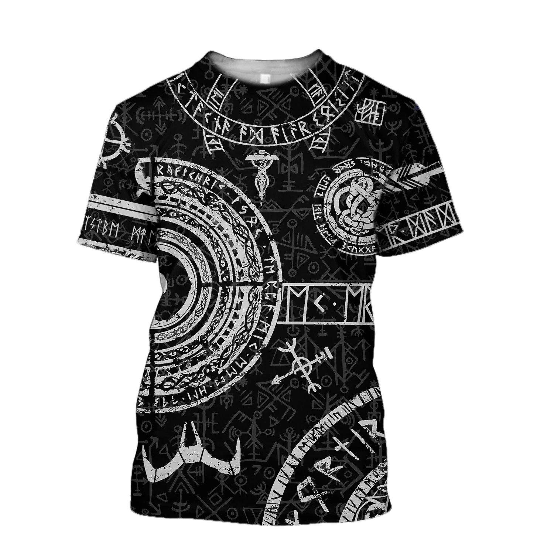 vikings tattoo symbols all over print tshirt