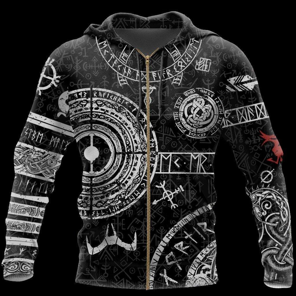 vikings tattoo symbols all over print zip hoodie