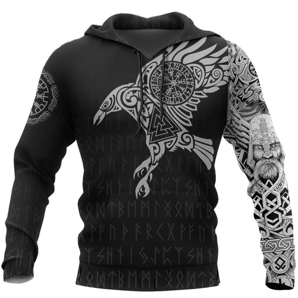 vikings the raven of odin tattoo full printing hoodie