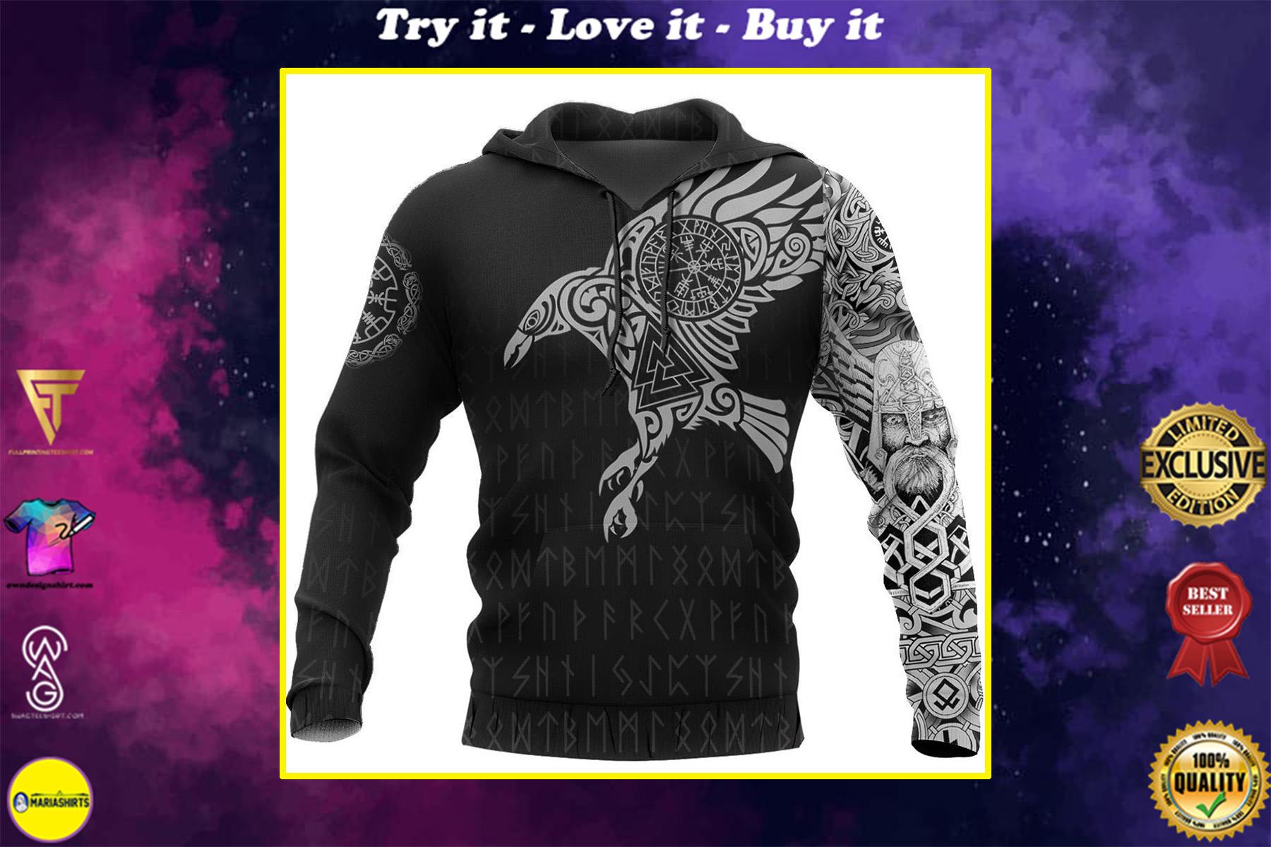vikings the raven of odin tattoo full printing shirt
