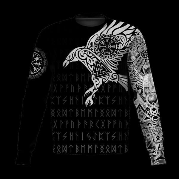 vikings the raven of odin tattoo full printing sweatshirt