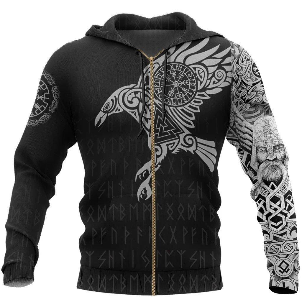 vikings the raven of odin tattoo full printing zip hoodie