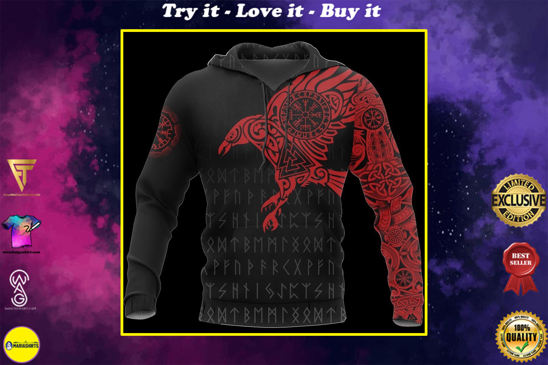 vikings the raven of odin tattoo red all over printed shirt