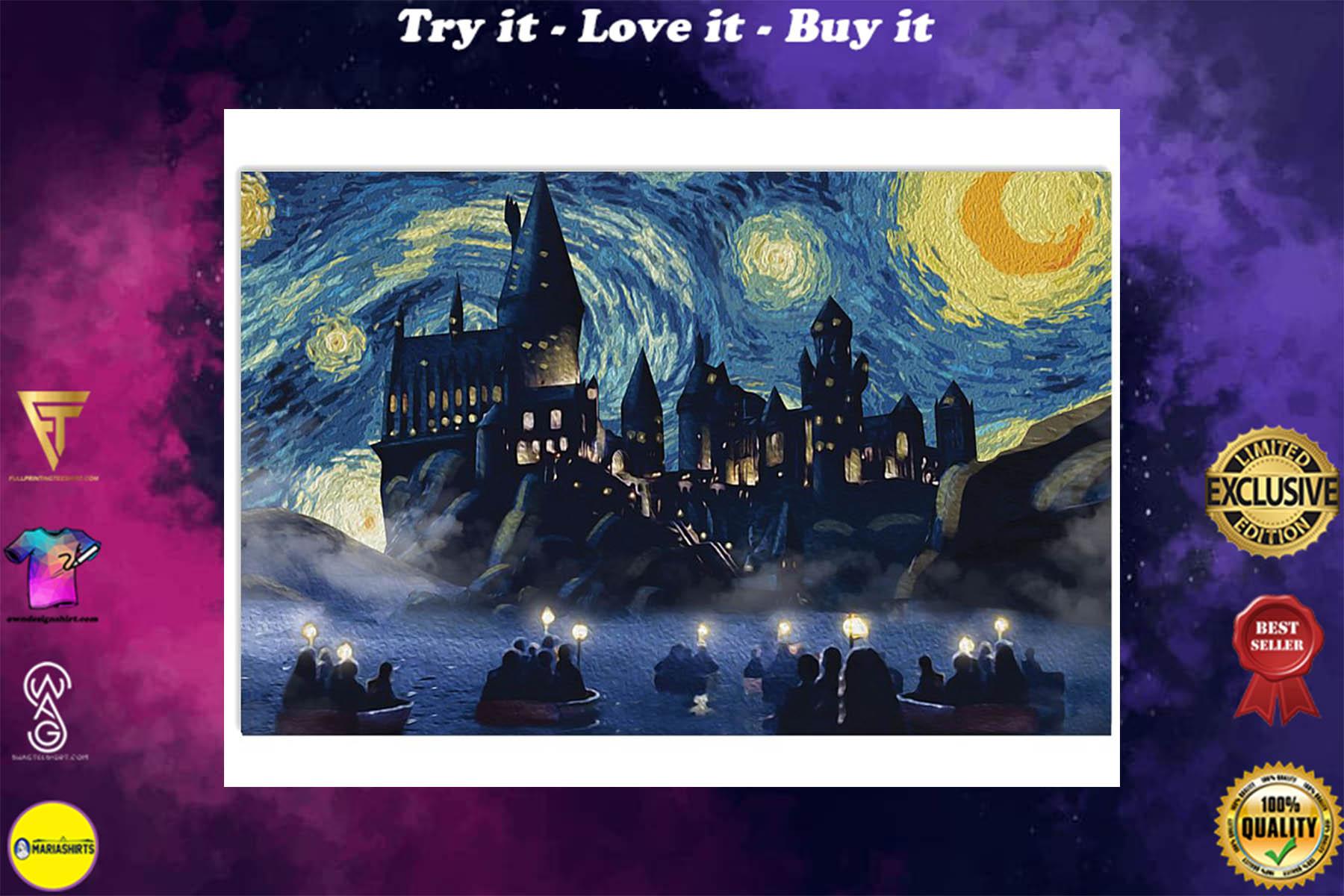 vincent van gogh starry night hogwarts harry potter poster