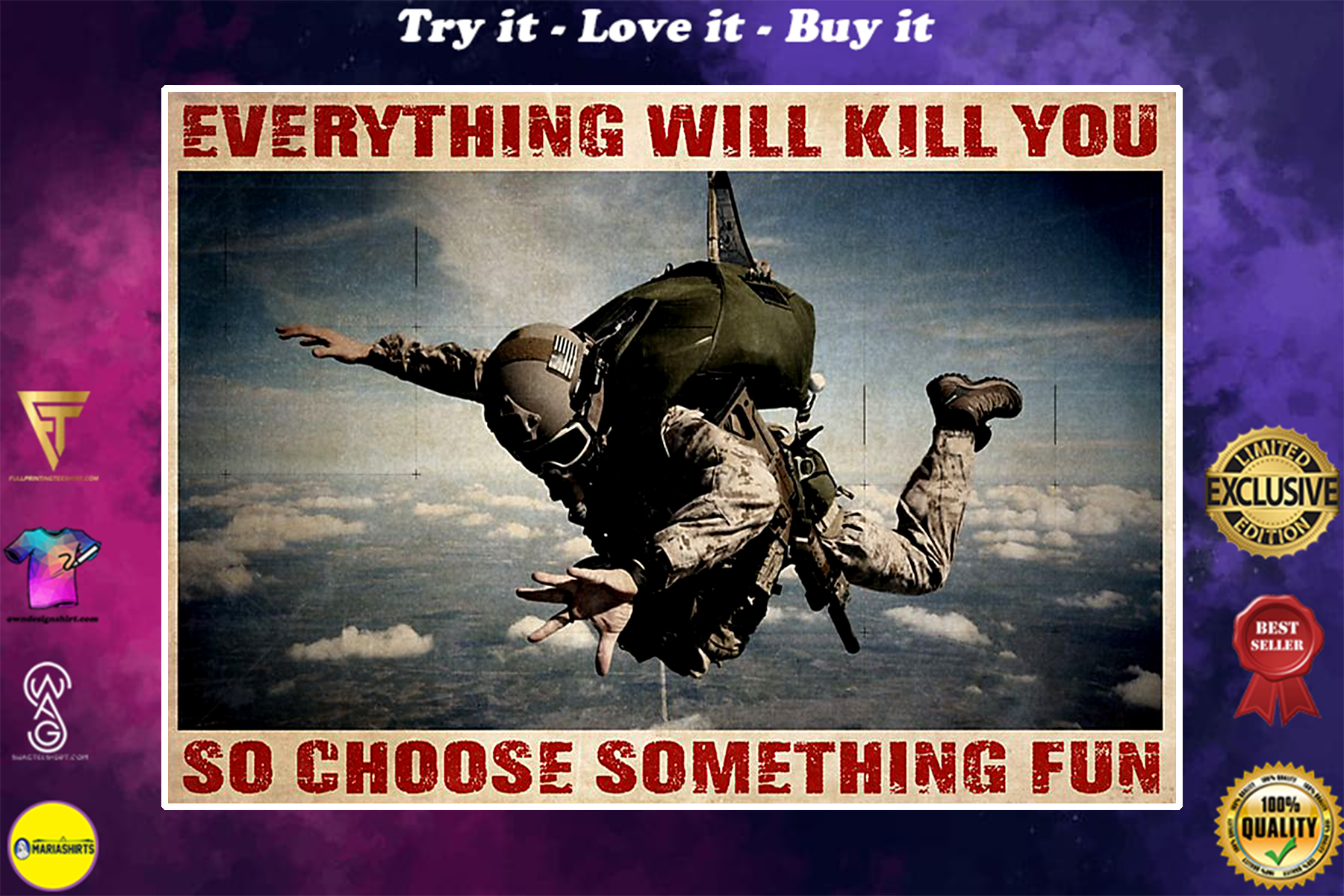 vintage airborne soldier everything will kill you so choose something fun poster