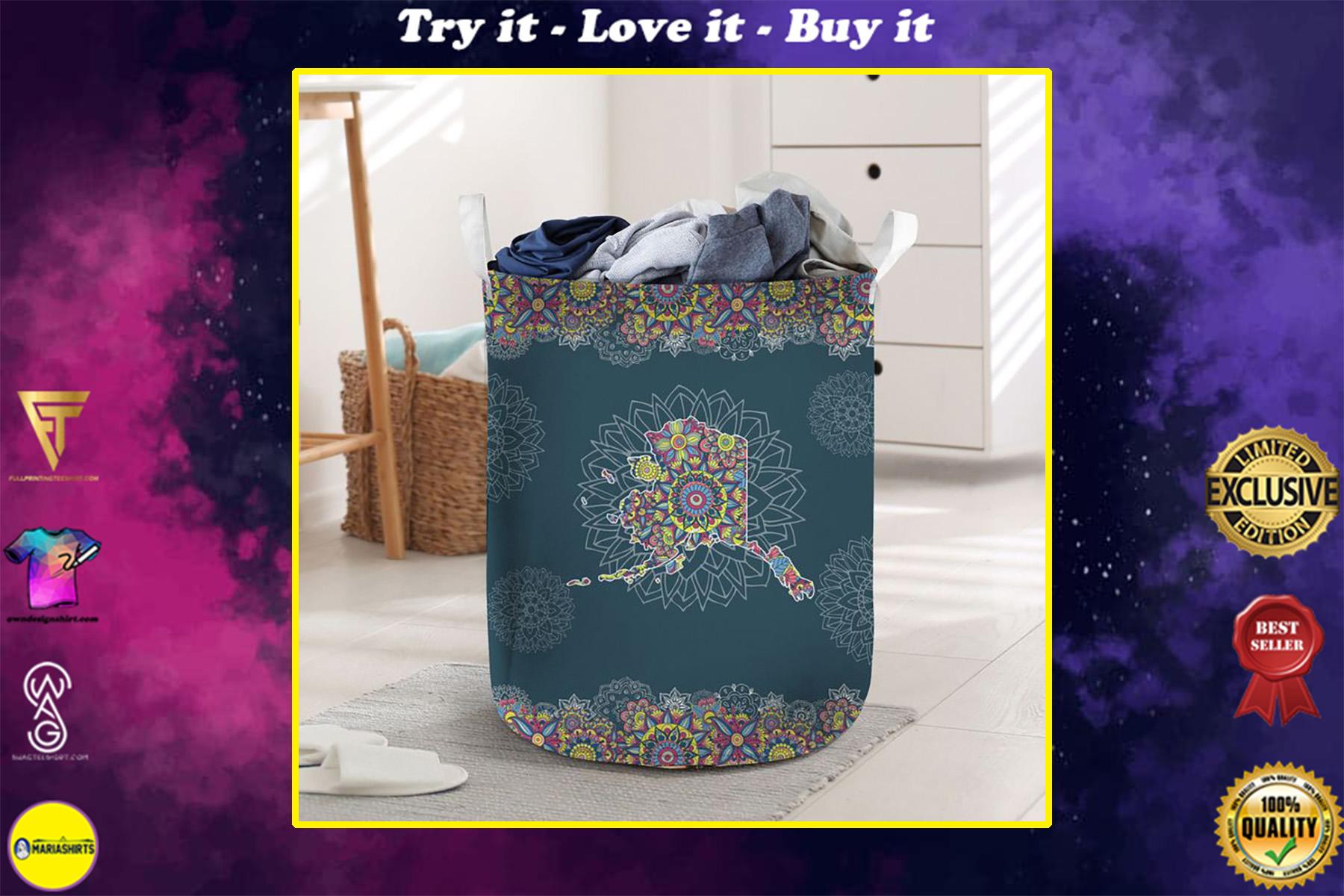 vintage alaska all over printed laundry basket