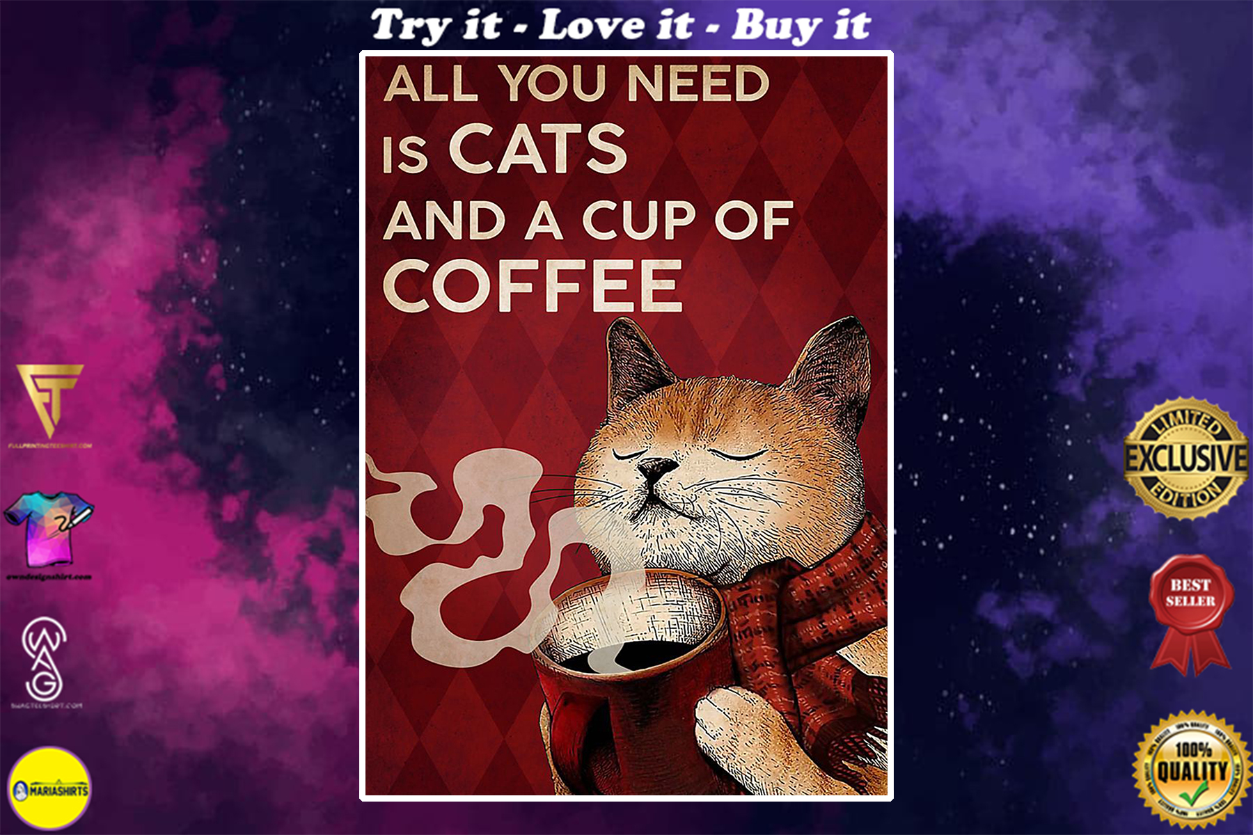 vintage all you need is cats and a cup of coffee poster