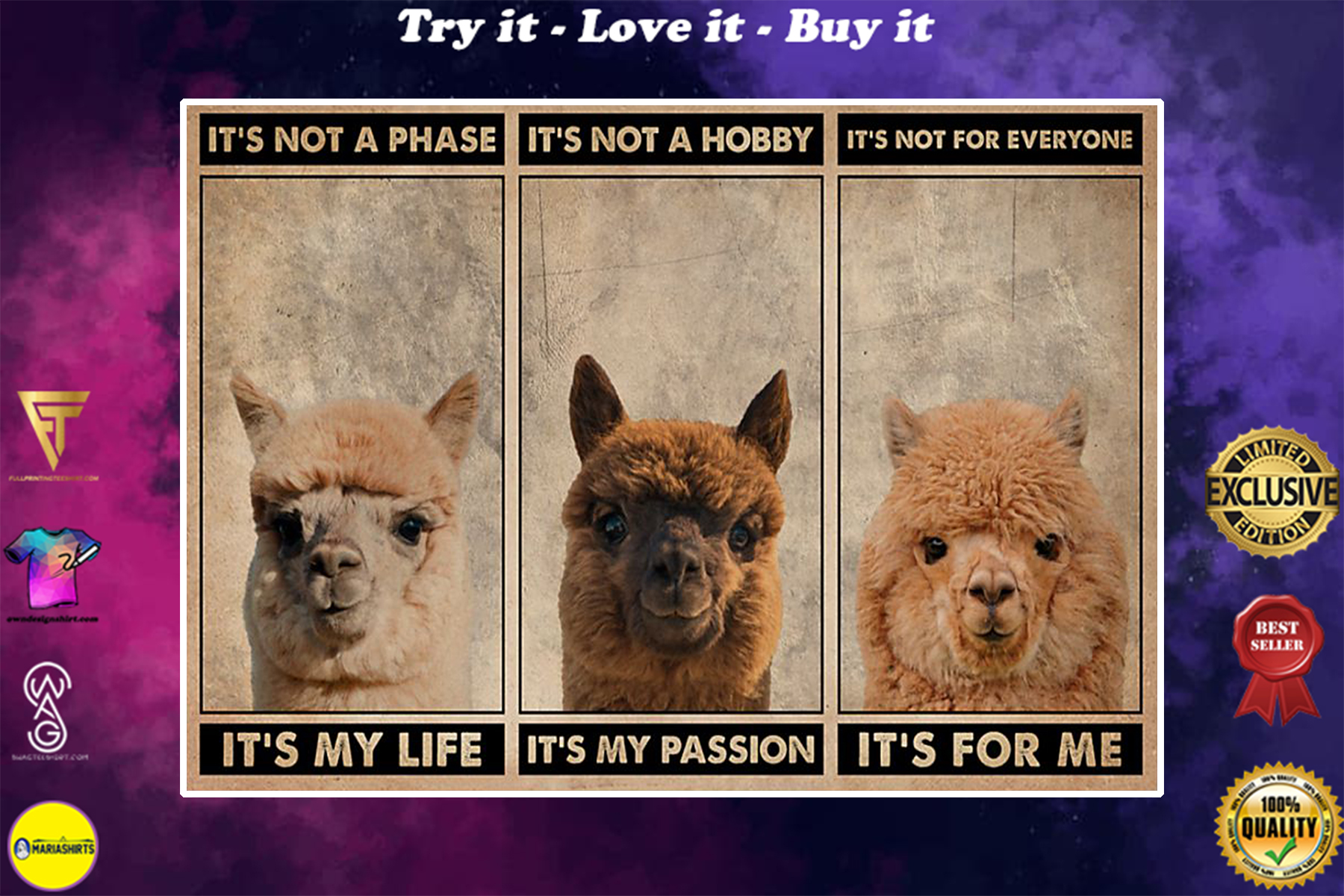 vintage alpaca its not a phase it my life its not a hobby its my passion poster