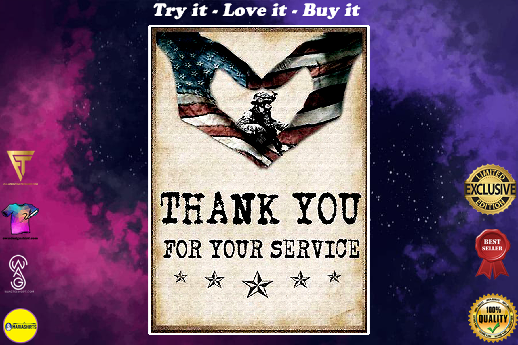 vintage american flag veteran thank you for your service poster