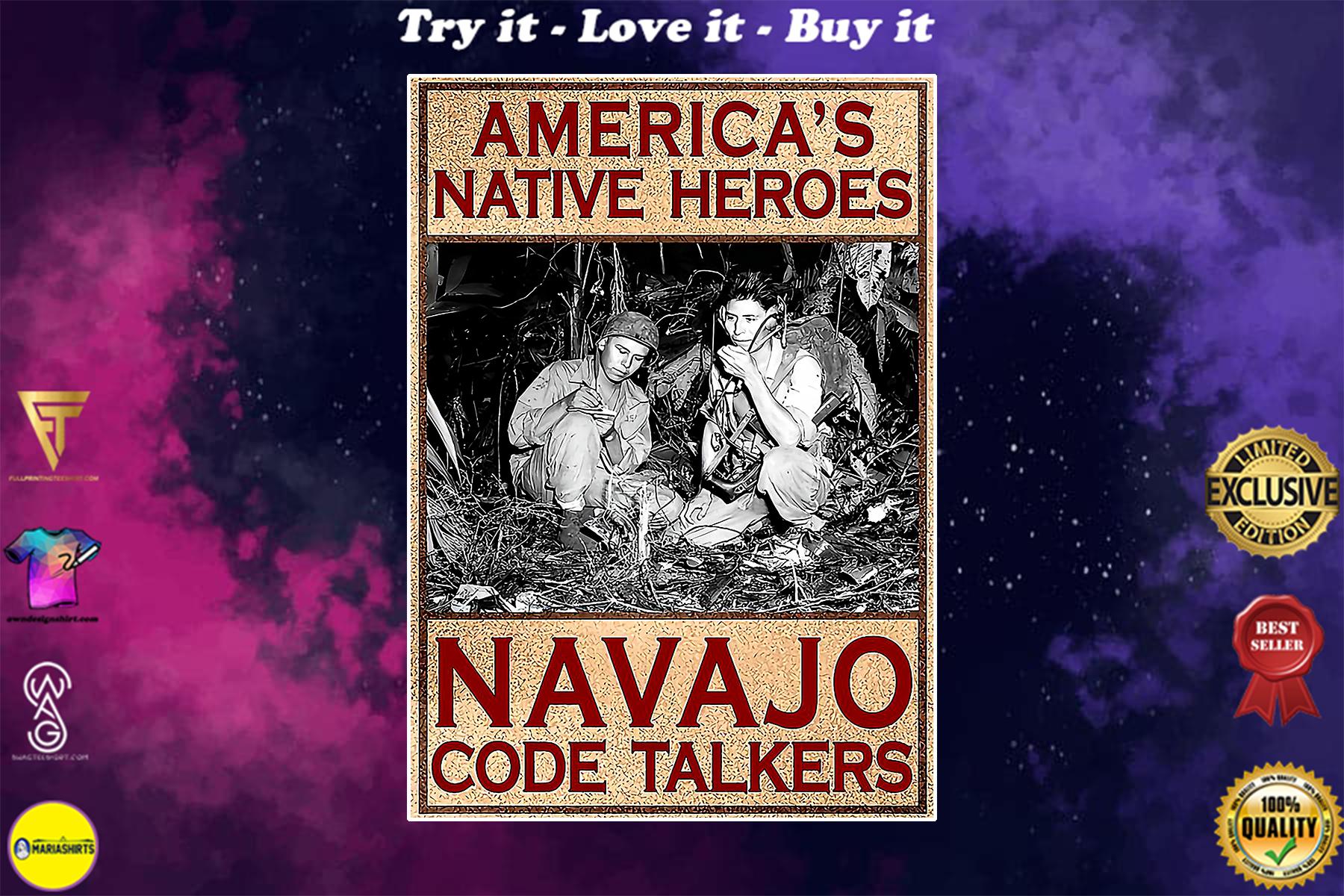 vintage americans native heroes navajo code talkers poster