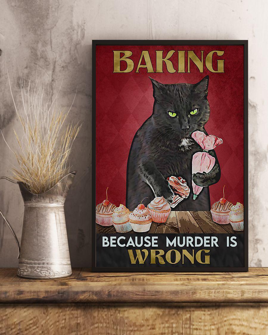 vintage baking because murder is wrong black cat poster 2