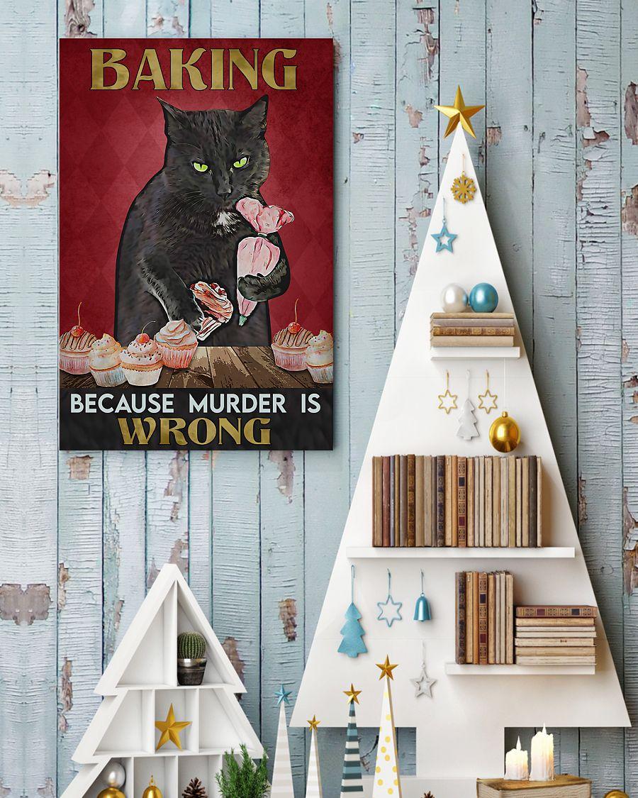 vintage baking because murder is wrong black cat poster 4