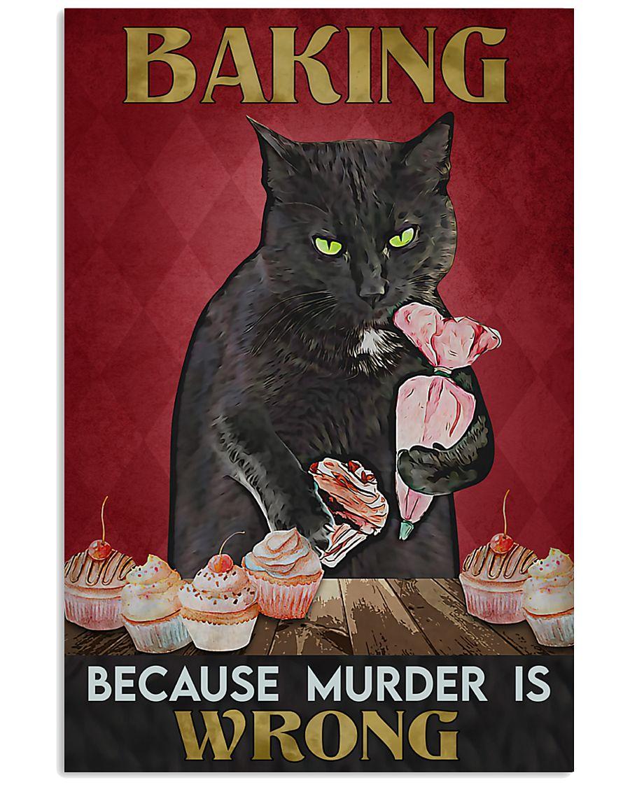 vintage baking because murder is wrong black cat poster 5