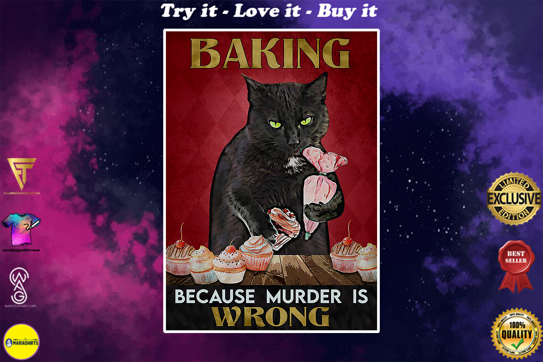 vintage baking because murder is wrong black cat poster