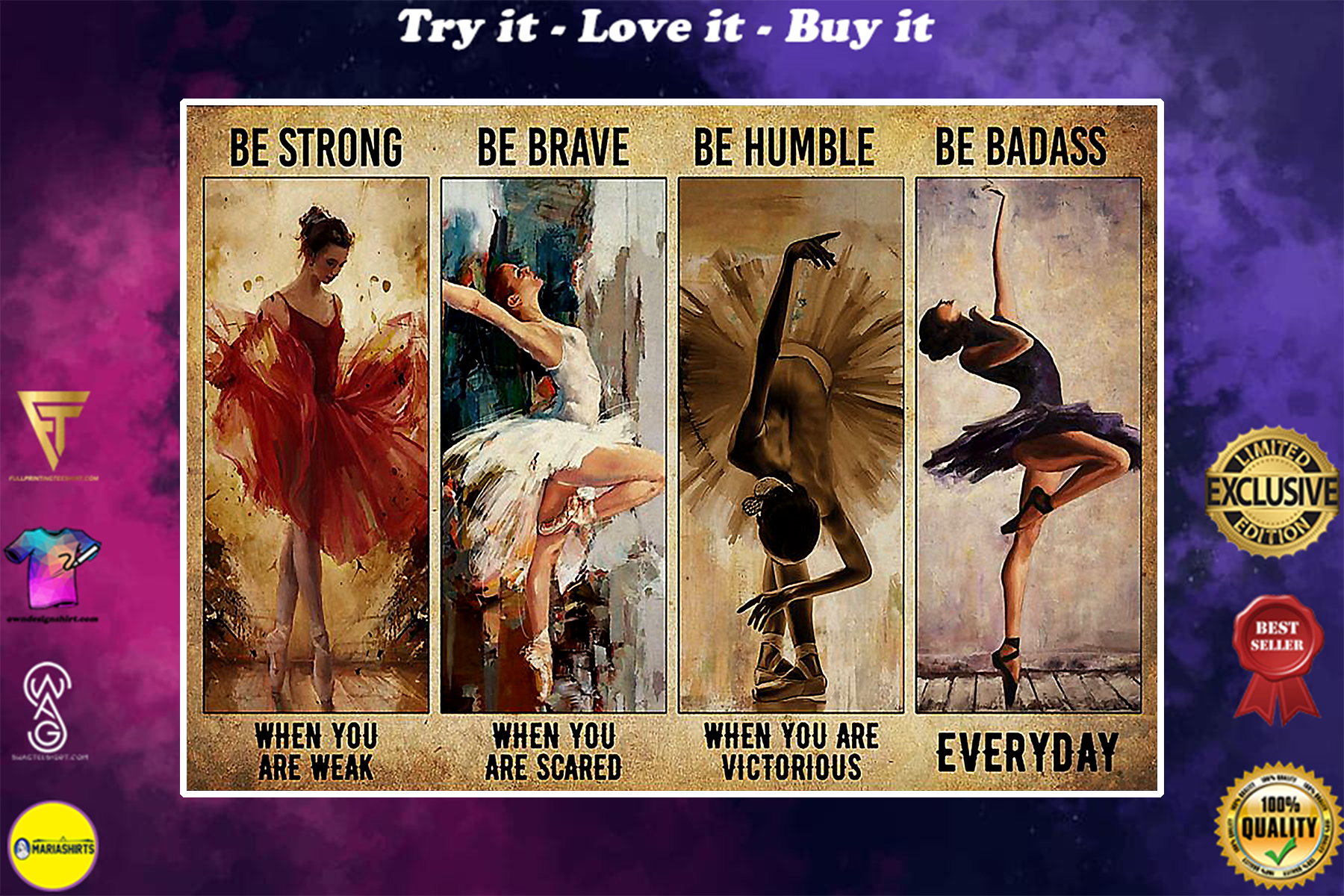 vintage ballet girl be strong when you are weak be brave when you are scared poster