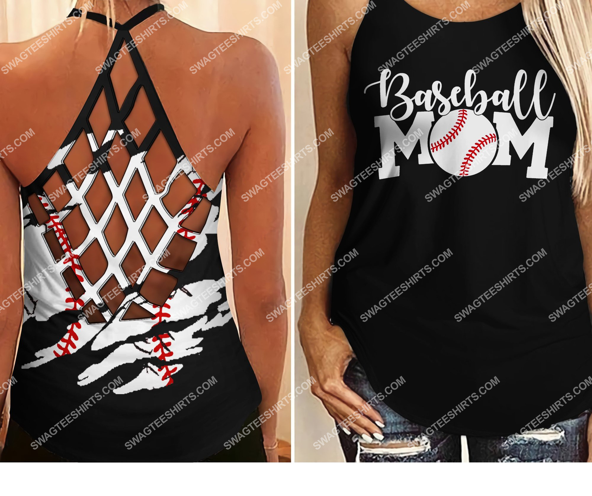 vintage baseball mom all over printed strappy back tank top 2