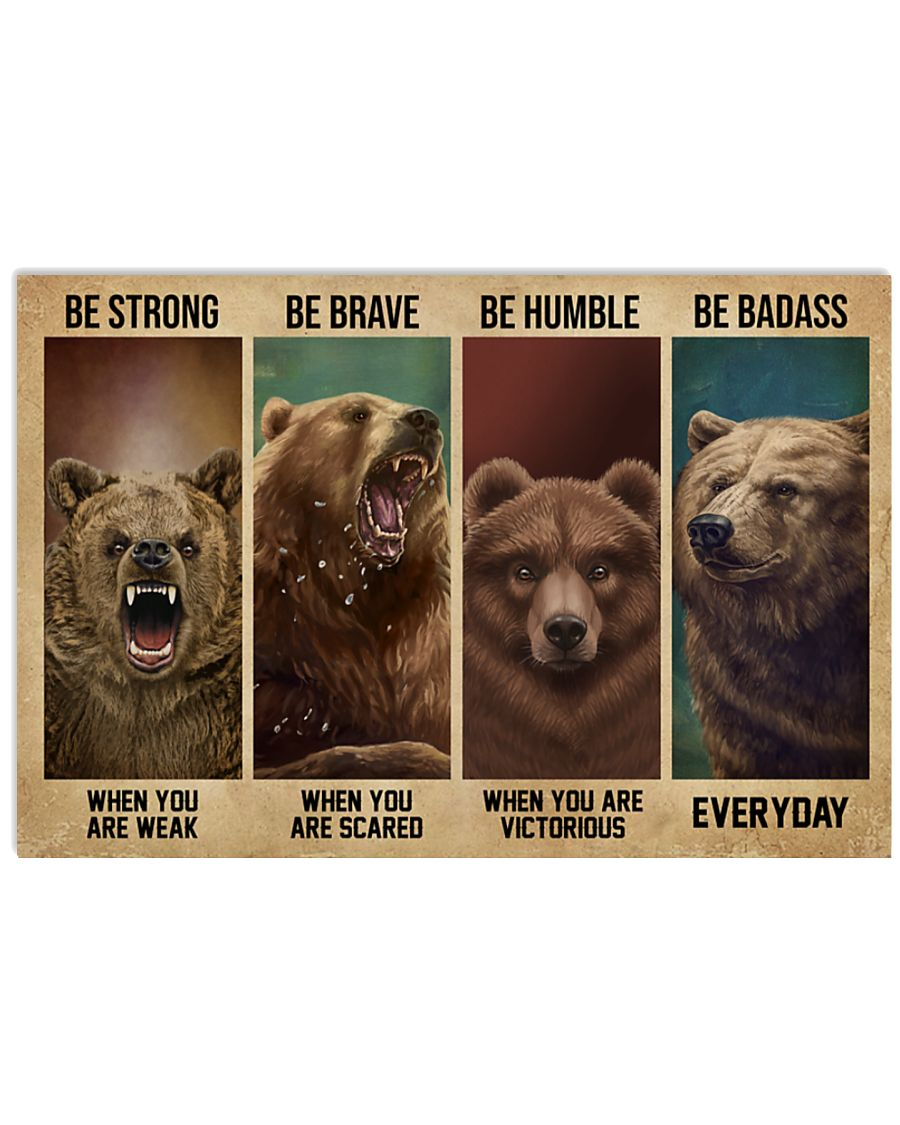 vintage bear be strong when you are weak be brave when you are scared poster 2