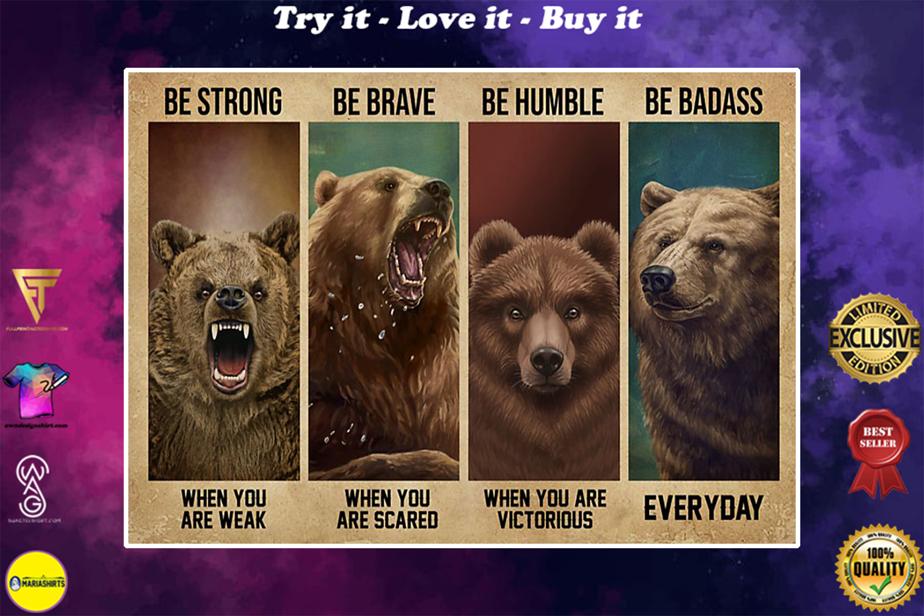 vintage bear be strong when you are weak be brave when you are scared poster