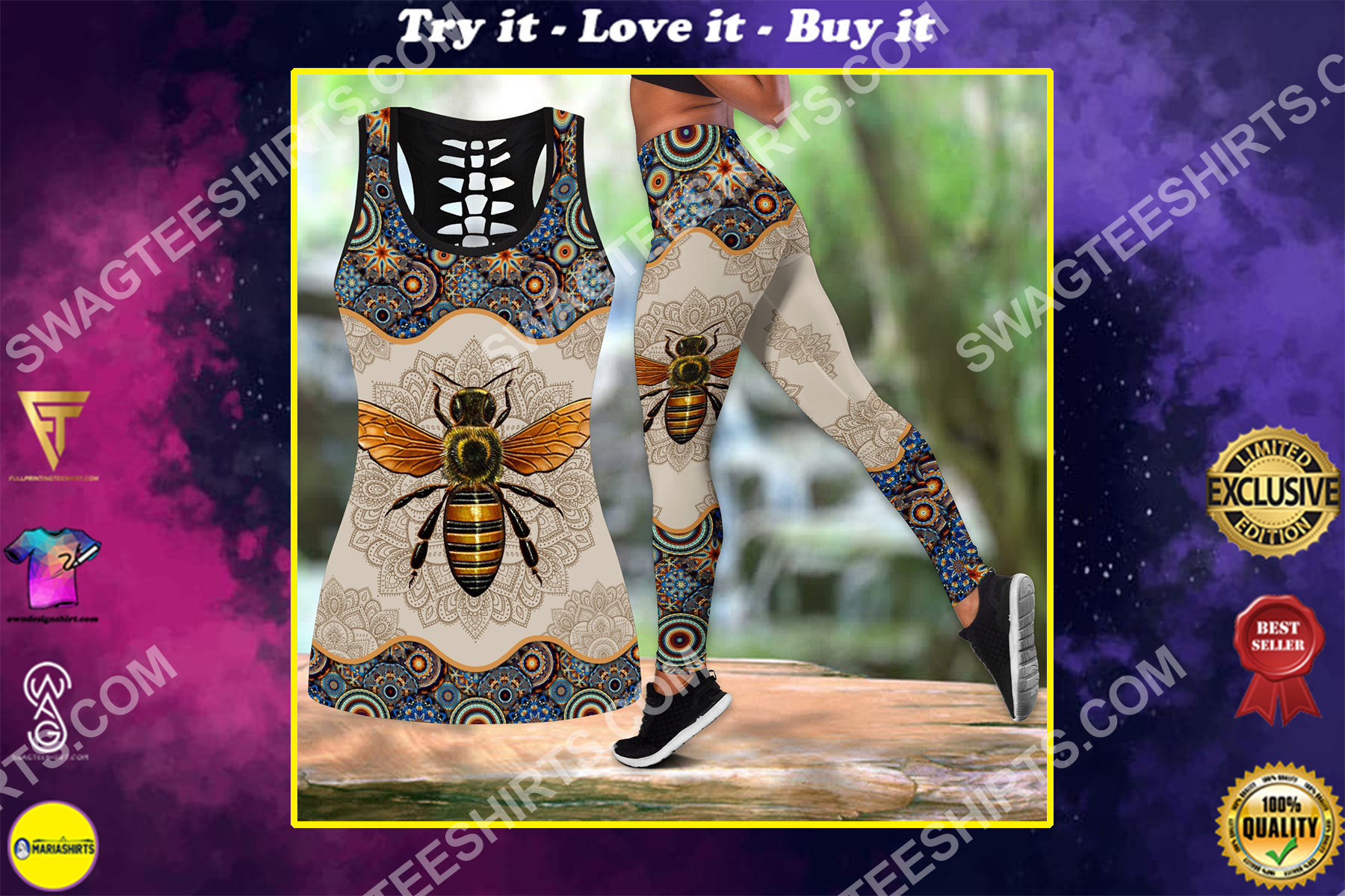 vintage bee all over printed set sports outfit
