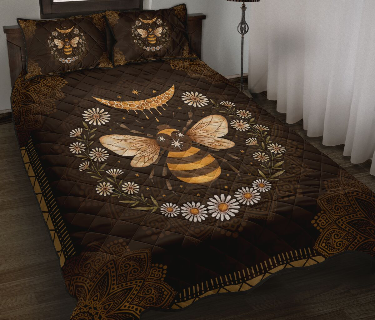 vintage bee and daisy full over print quilt 2