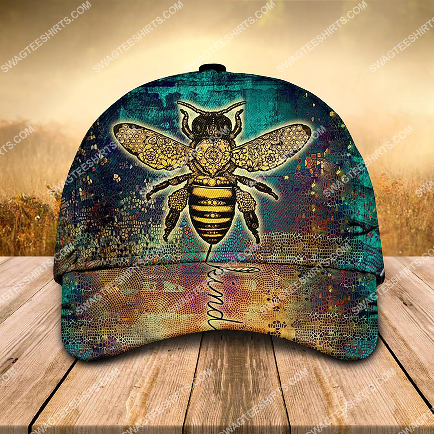 vintage bee kind all over printed classic cap 3 - Copy (2)
