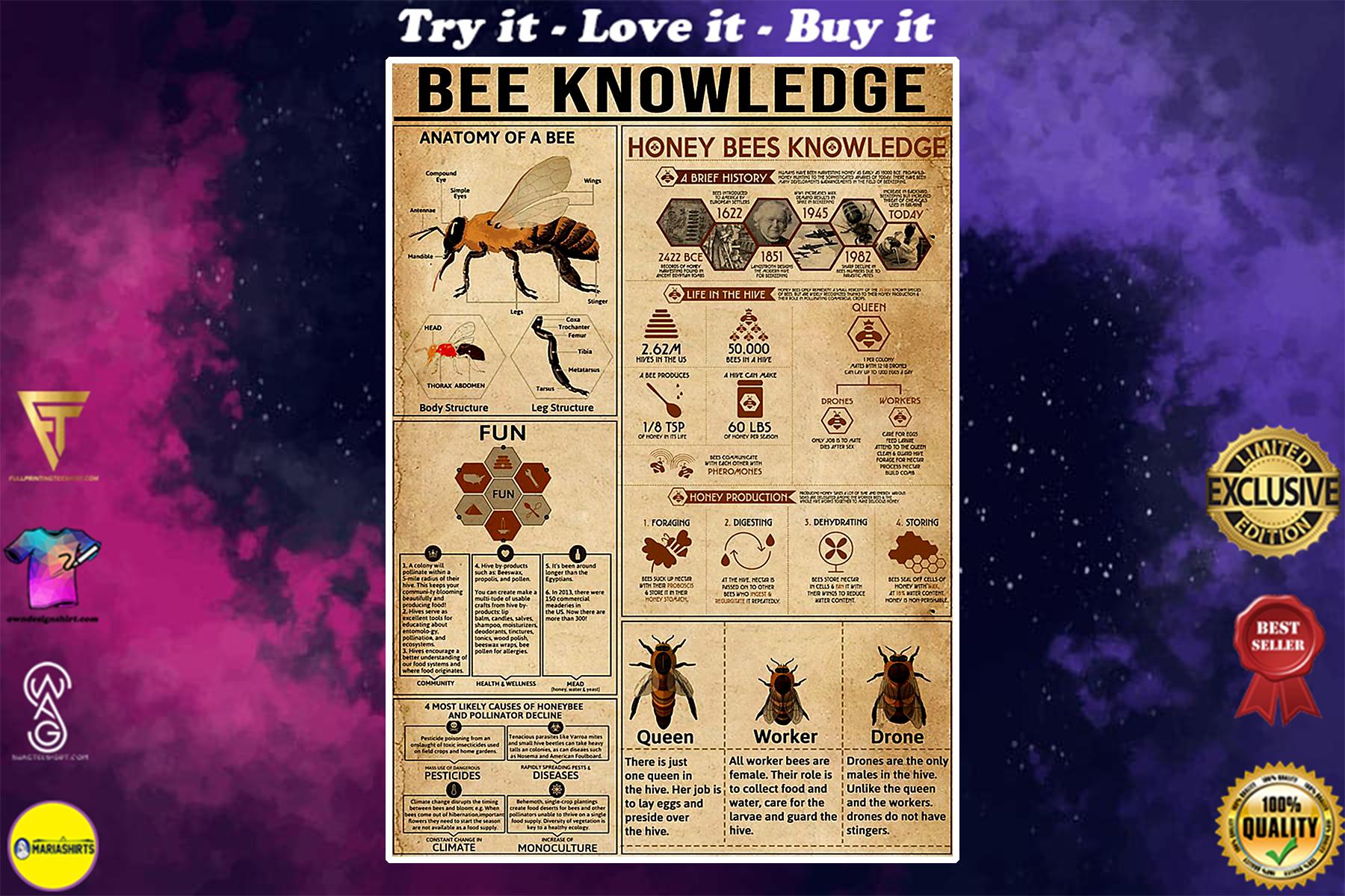vintage bee knowledge poster