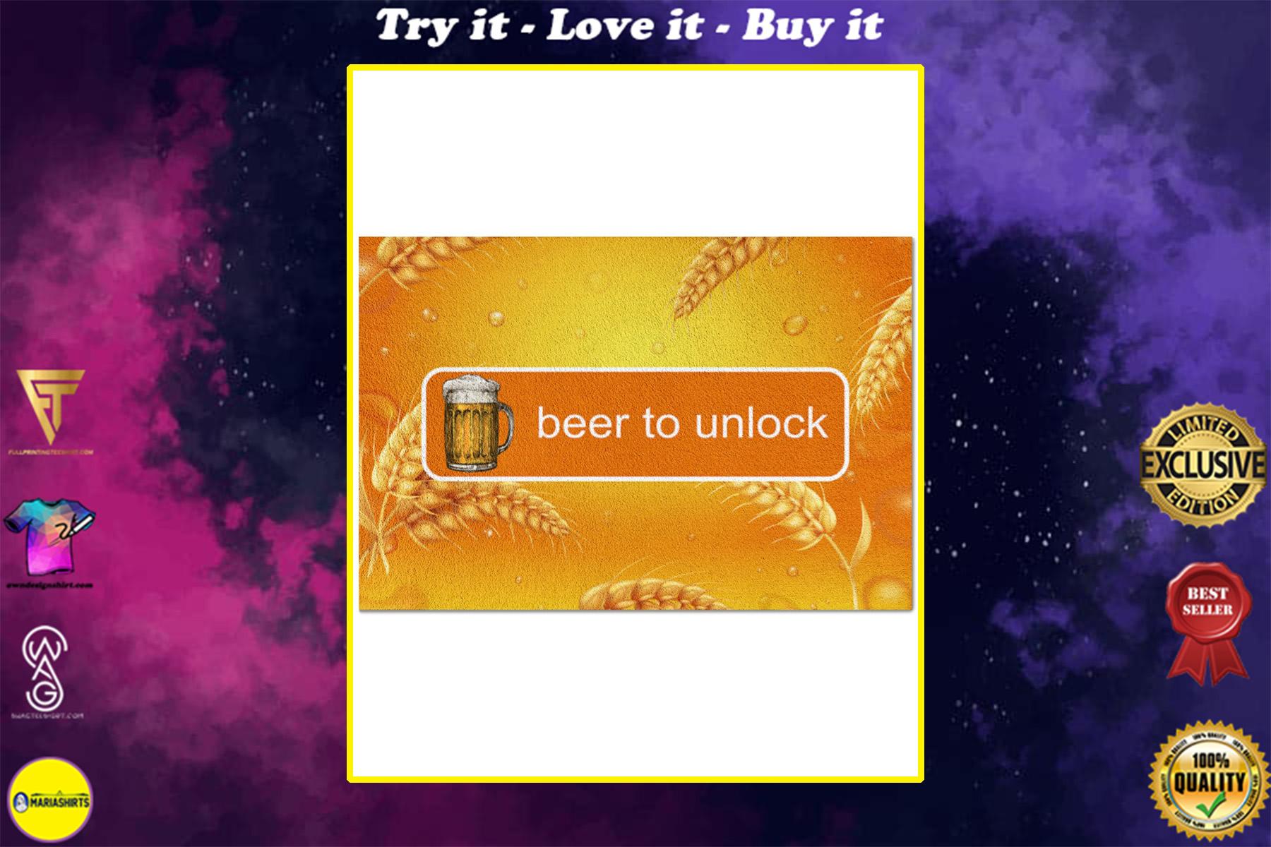 vintage beer to unlock all over print doormat