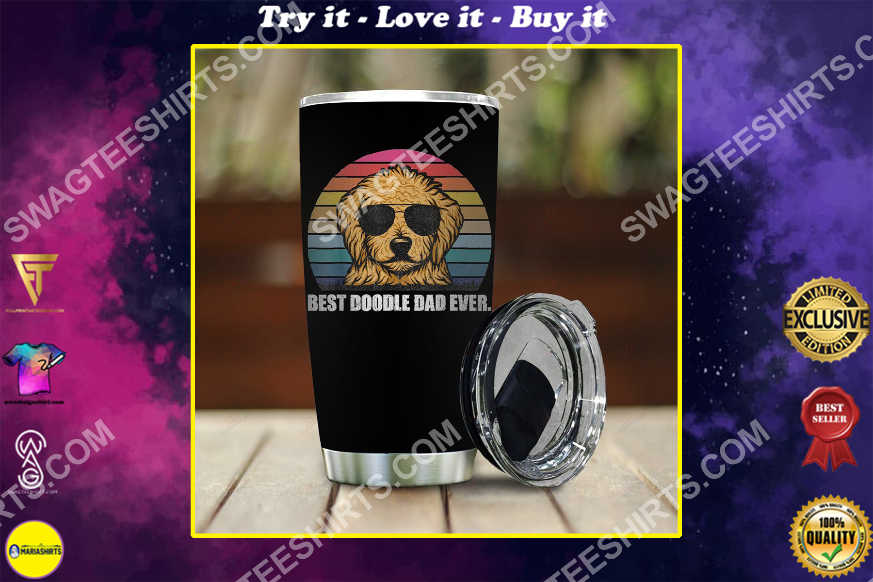 vintage best doodle dad ever all over printed stainless steel tumbler