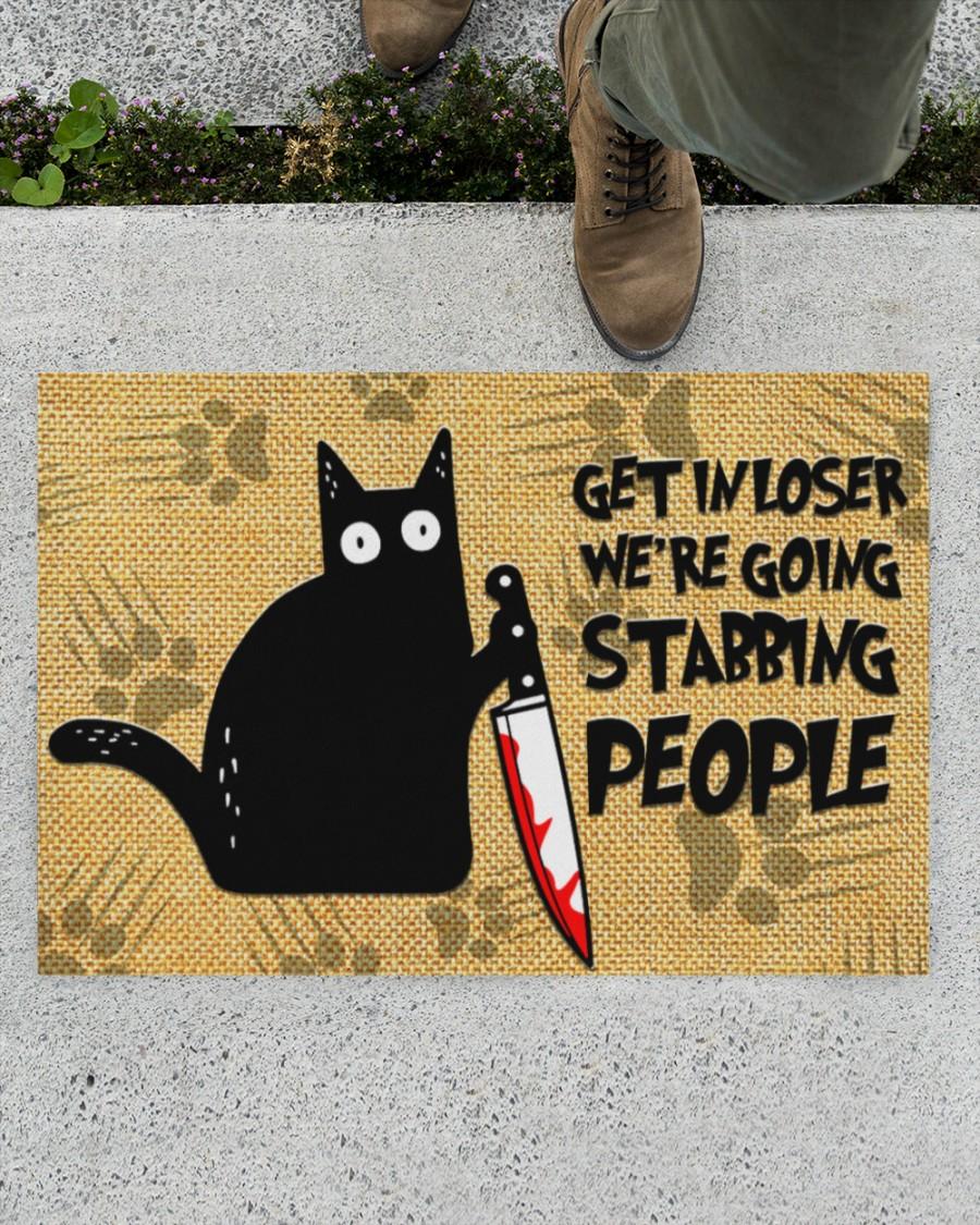 vintage black cat get in loser we're going stabbing people doormat 2