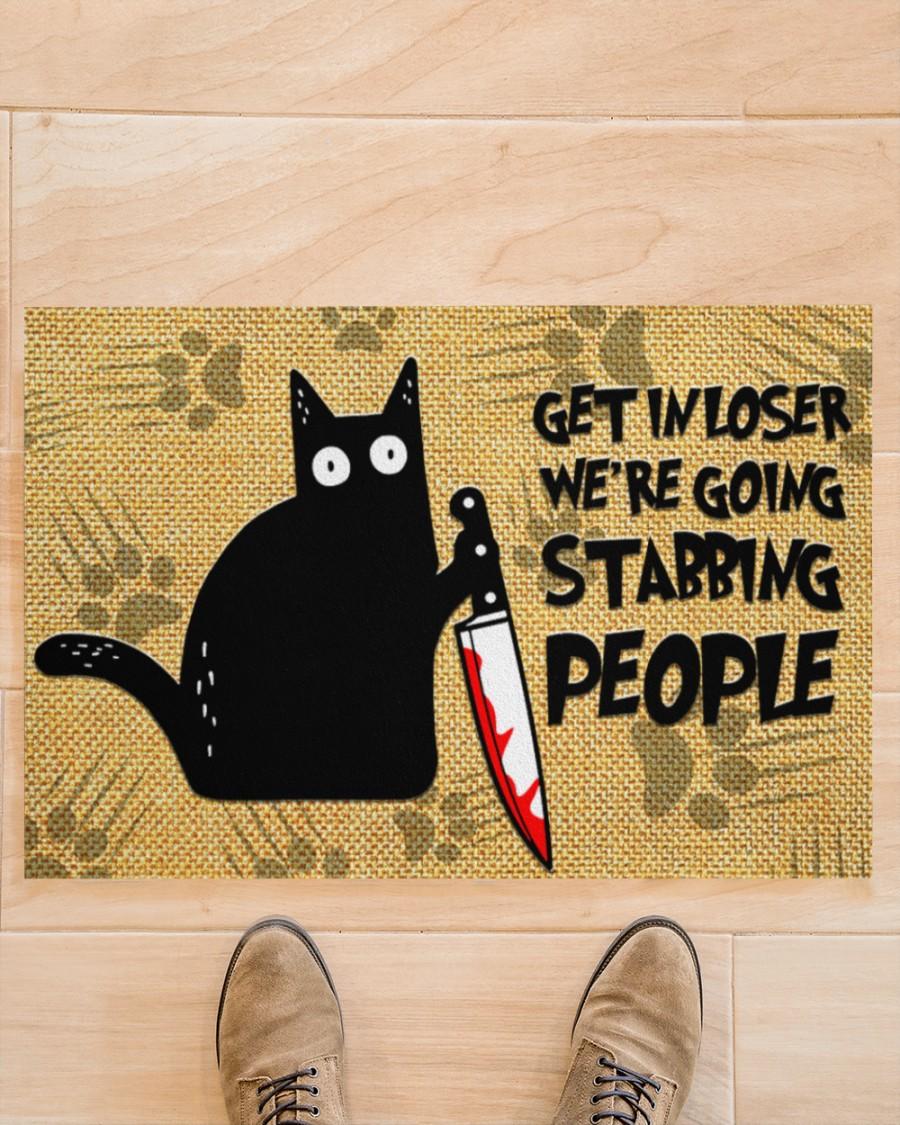 vintage black cat get in loser we're going stabbing people doormat 3