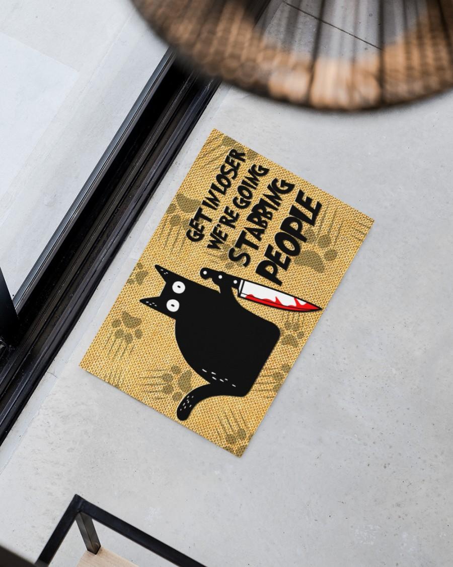 vintage black cat get in loser we're going stabbing people doormat 5