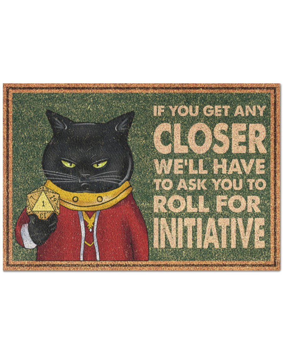vintage black cat if you get any closer we'll have to ask you to roll for initiative doormat 5