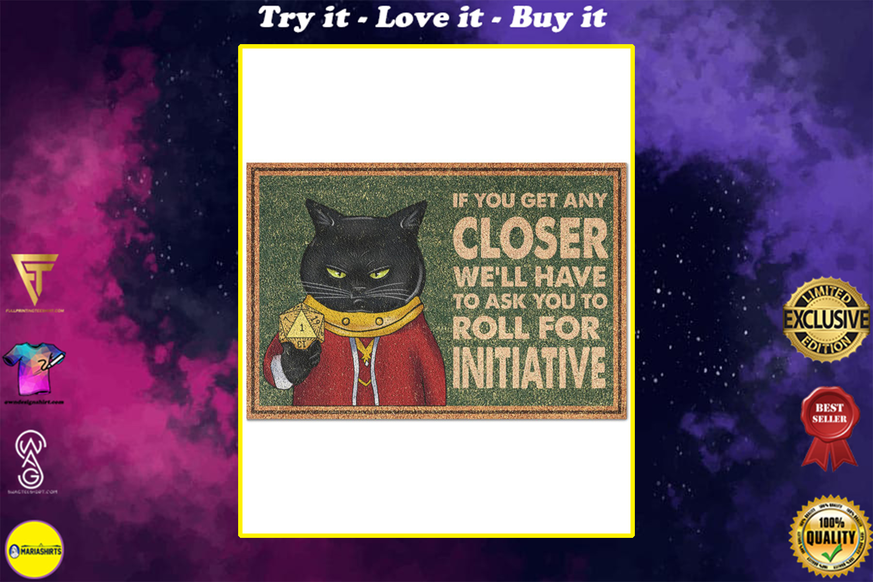 vintage black cat if you get any closer we'll have to ask you to roll for initiative doormat