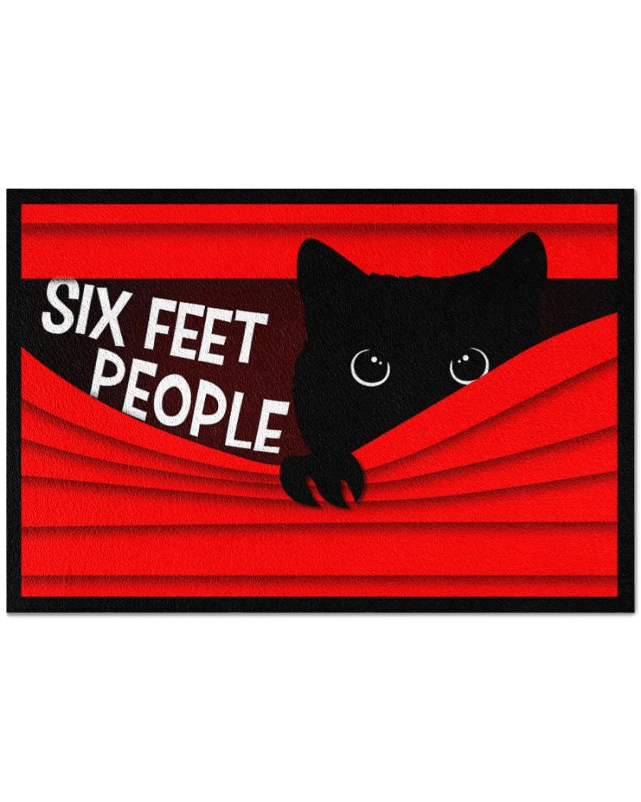 vintage black cat six feet people all over print doormat 2