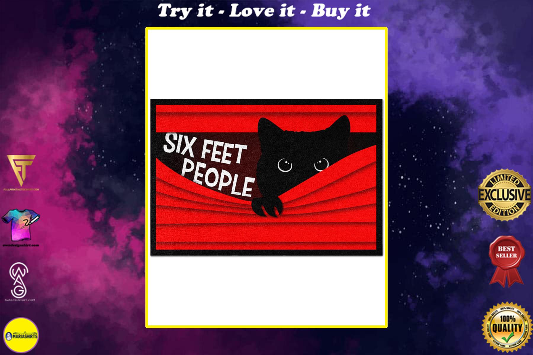 vintage black cat six feet people all over print doormat