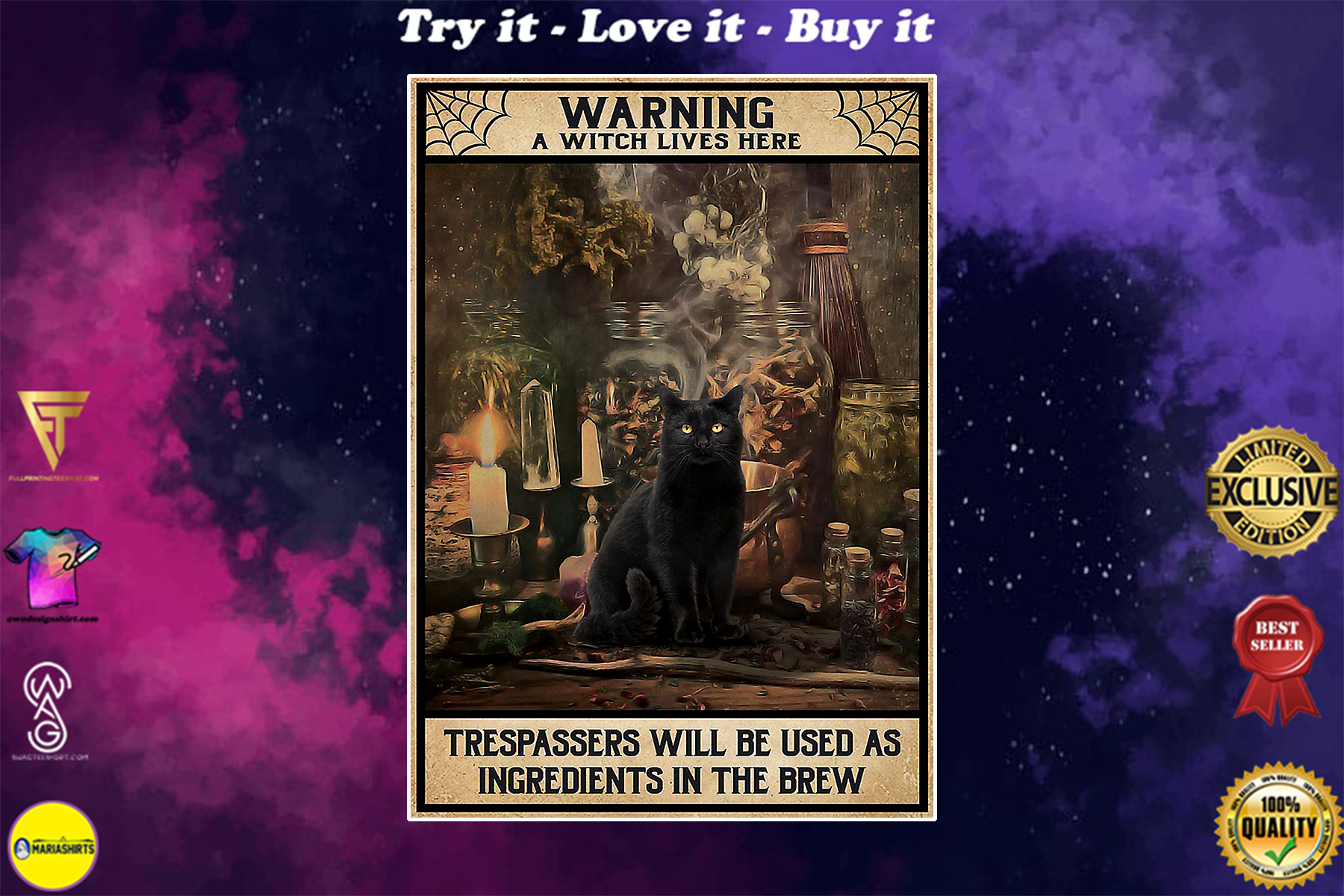 vintage black cat warning a witch lives here all trespassers will be used as ingredients poster