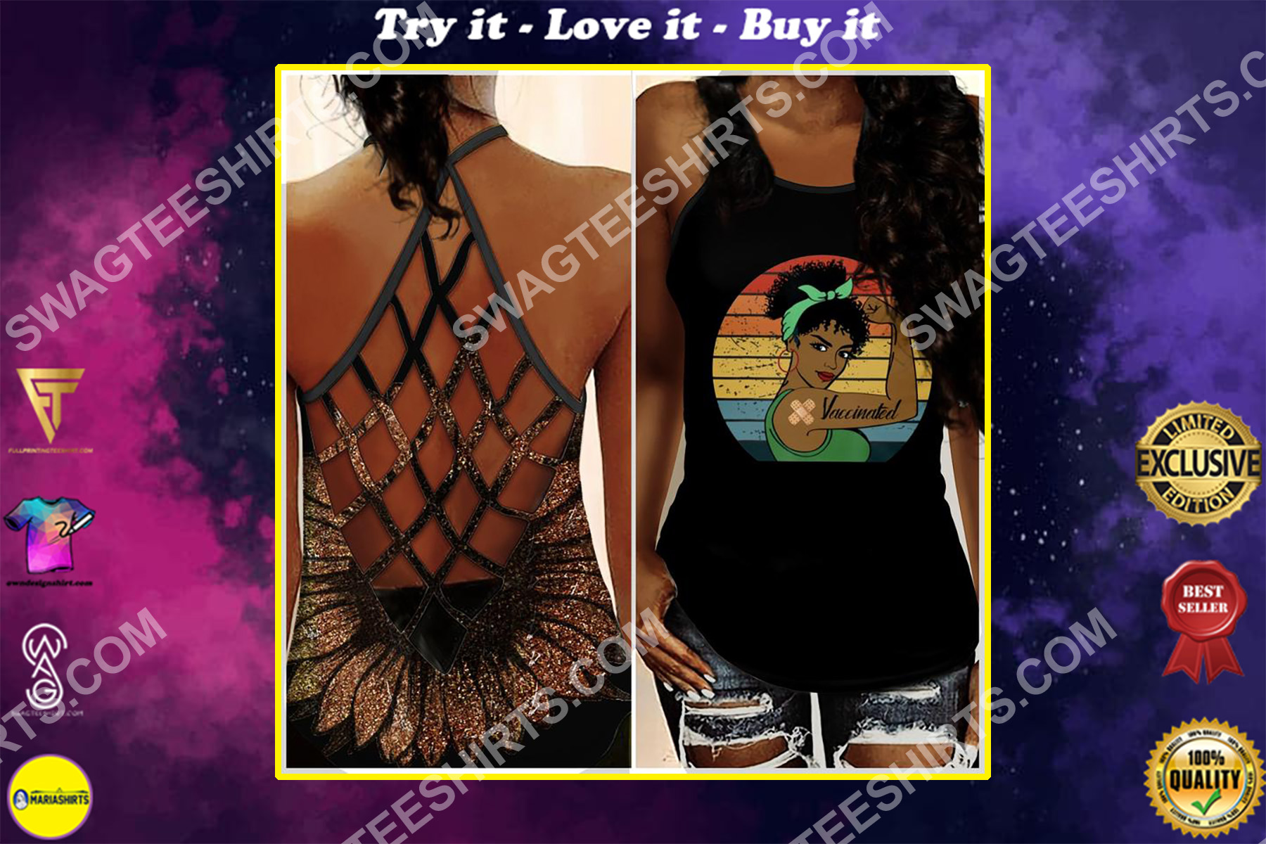 vintage black girl vaccinated all over printed strappy back tank top