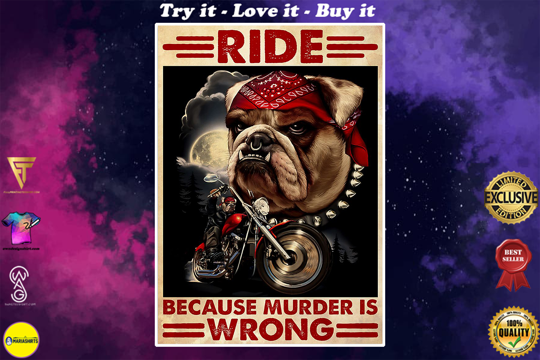 vintage bull dog motorcycles ride because murder is wrong poster