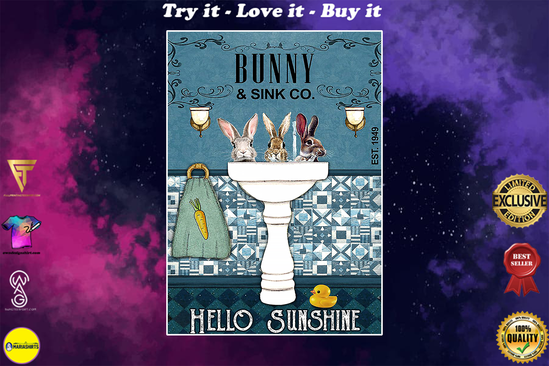 vintage bunny and sink co hello sunshine poster