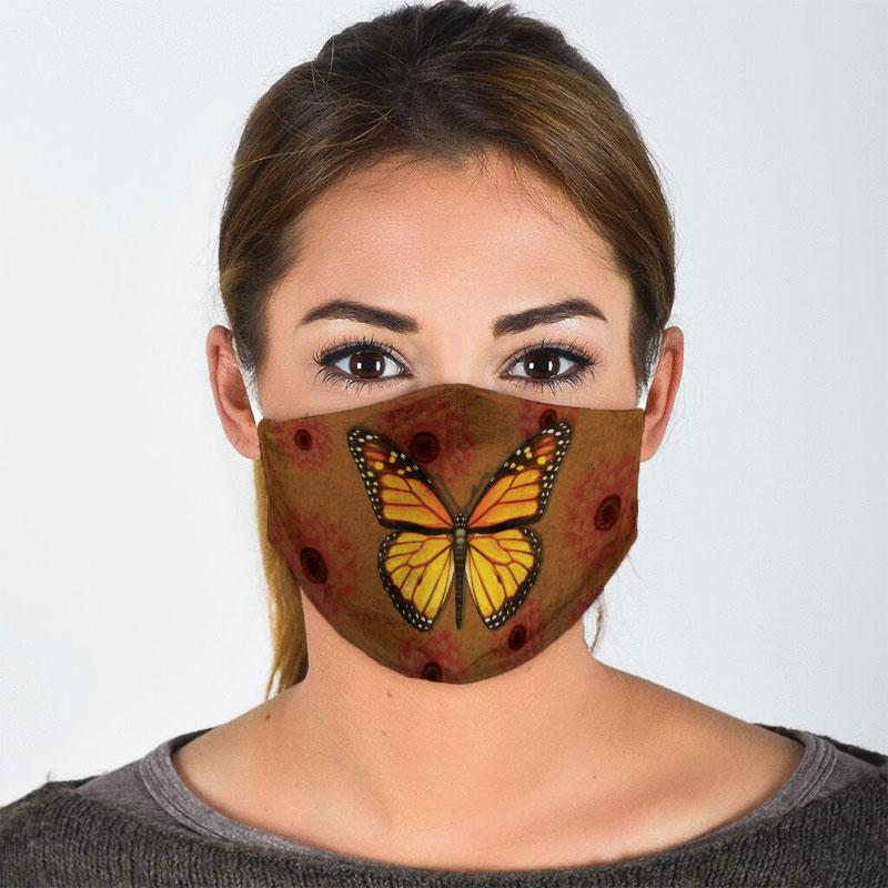 vintage butterfly all over print face mask 3